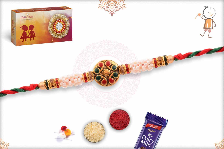 Royal Meenakari Rakhi with Red-Green Thread 2