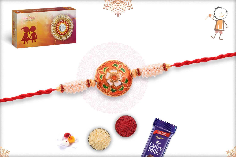 Rajwadi Flower Meenakari Rakhi with Pearls 3