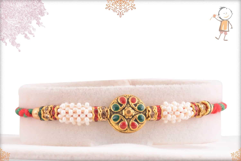 Royal Meenakari Rakhi with Red-Green Thread 1