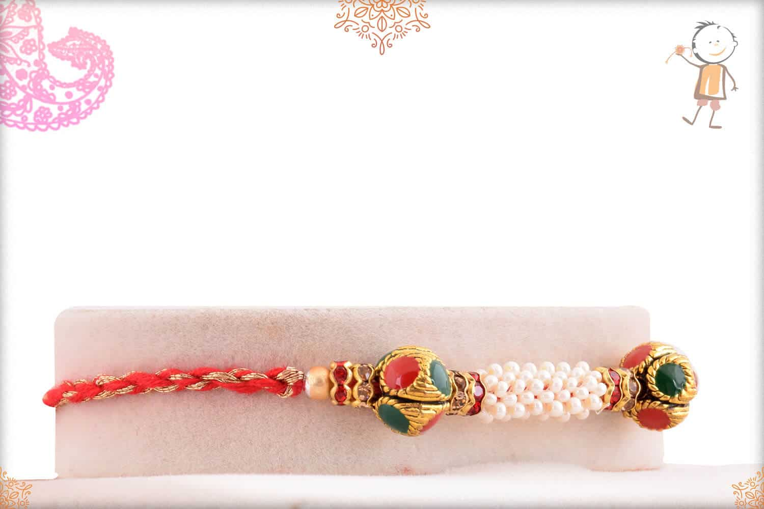 Royal Pearl Rakhi with Red-Golden Thread 2