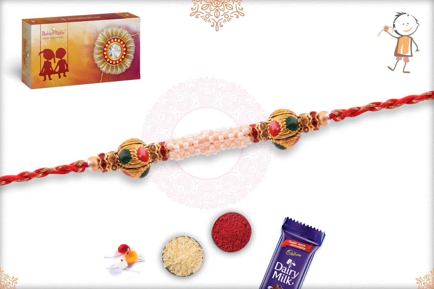 Royal Pearl Rakhi with Red-Golden Thread 3