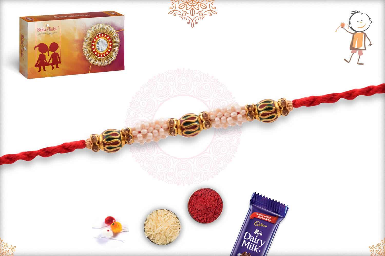 Royal Pearl with Meenakari Beads Rakhi 2