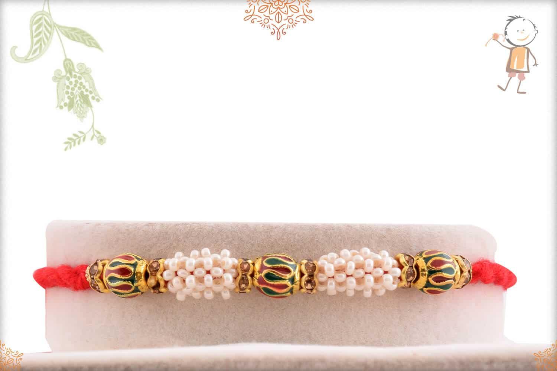 Royal Pearl with Meenakari Beads Rakhi 1