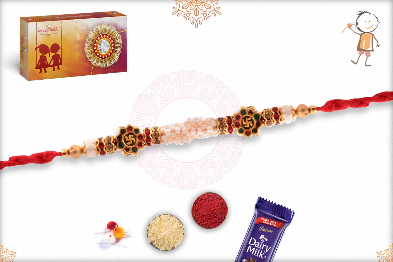 Unique Swastik Meenakari Beads Rakhi Pearls 2