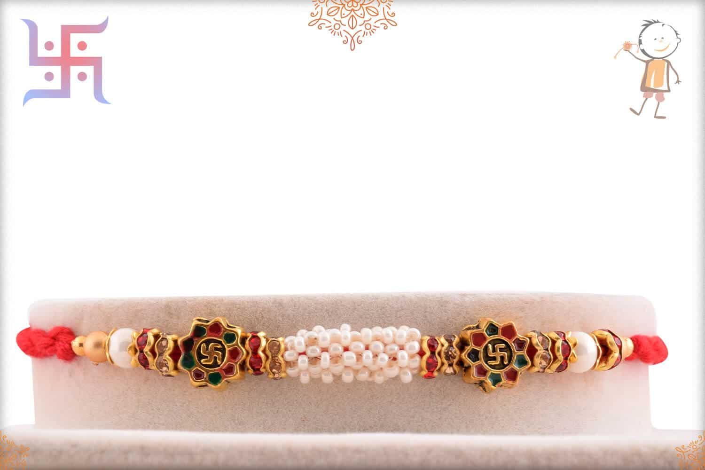 Unique Swastik Meenakari Beads Rakhi Pearls 1