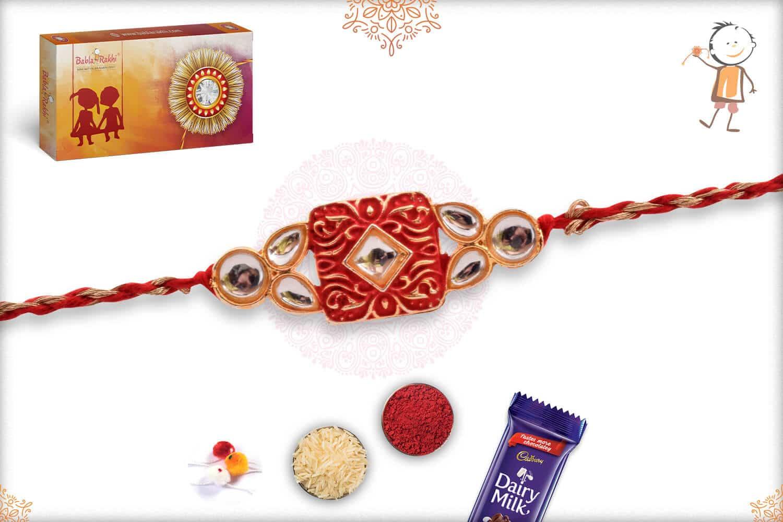 Beautiful Kundan Rakhi with Red-Golden Rakhi 2