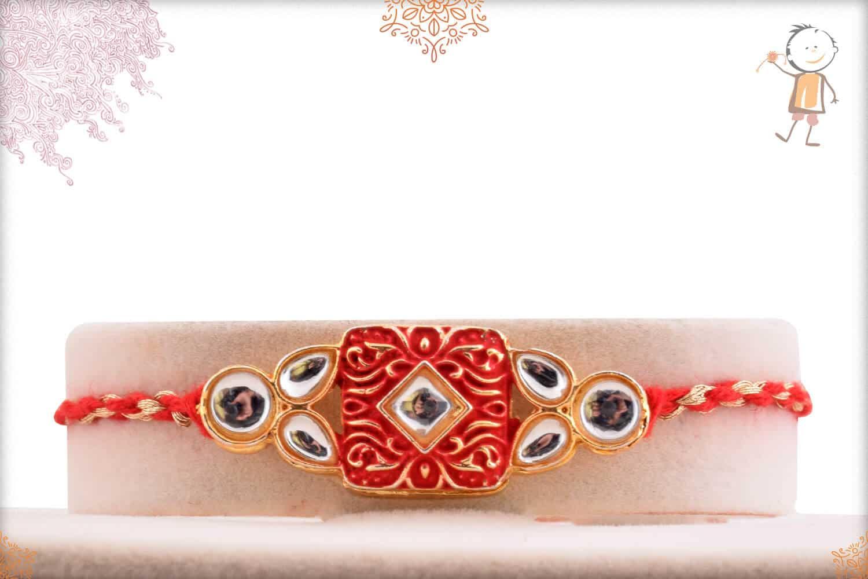 Beautiful Kundan Rakhi with Red-Golden Rakhi 1
