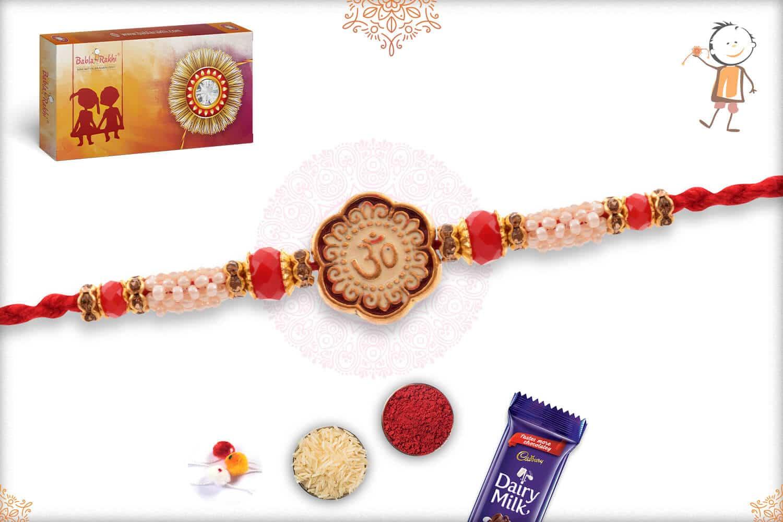 Stunning Meenakari OM Rakhi with Pearls and Red Beads 2