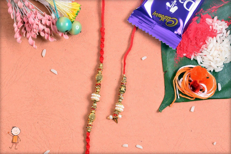 Fabulous Pearl with Designer Beads Bhaiya-Bhabhi Rakhi 1