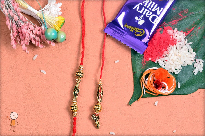 Stunning Designer Beads Bhaiya-Bhabhi Rakhi 1