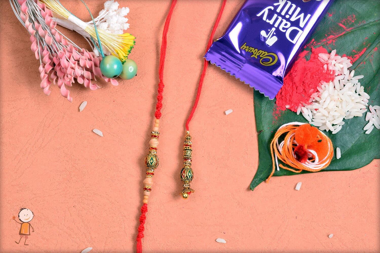 Beautiful Designer Beads Bhaiya-Bhabhi Rakhi 1