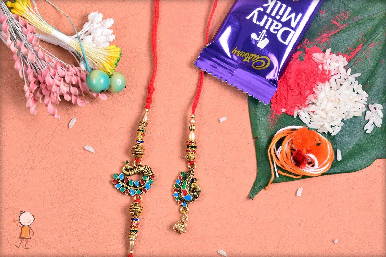 Beautiful Designer Peacock Bhaiya-Bhabhi Rakhi 1