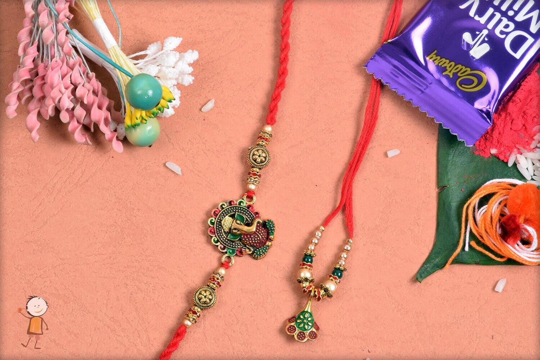 Premium Ganeshji with Flower Bhaiya-Bhabhi Rakhi 1