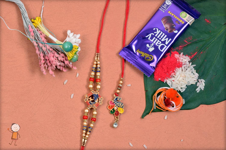 Beautiful Colorful Peacock Bhaiya-Bhabhi Rakhi 1