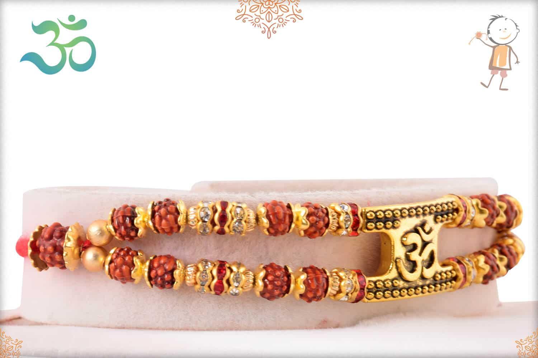 OM with Rudraksh Bracelet-Style Rakhi 2