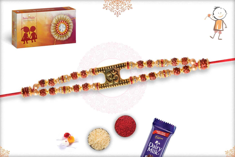 OM with Rudraksh Bracelet-Style Rakhi 3
