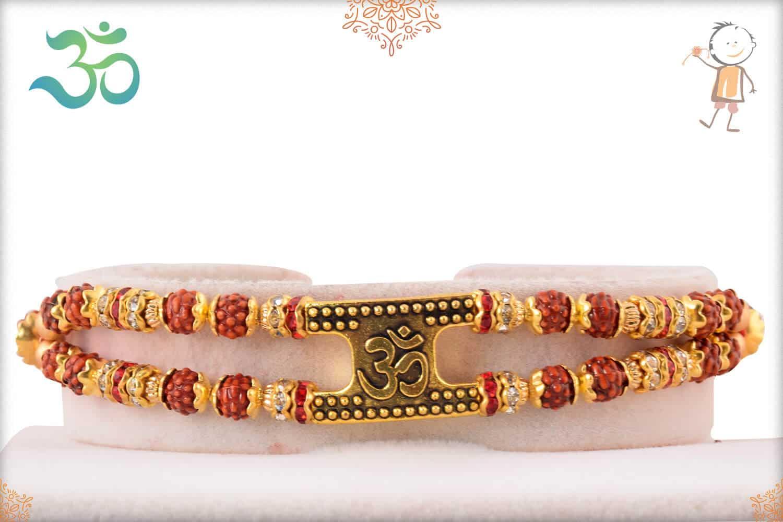 OM with Rudraksh Bracelet-Style Rakhi 1