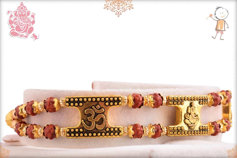 OM with Ganeshji Rudraksh Bracelet-Style Rakhi 2