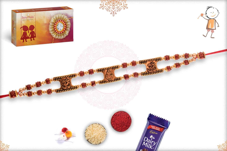 OM with Ganeshji Rudraksh Bracelet-Style Rakhi 3