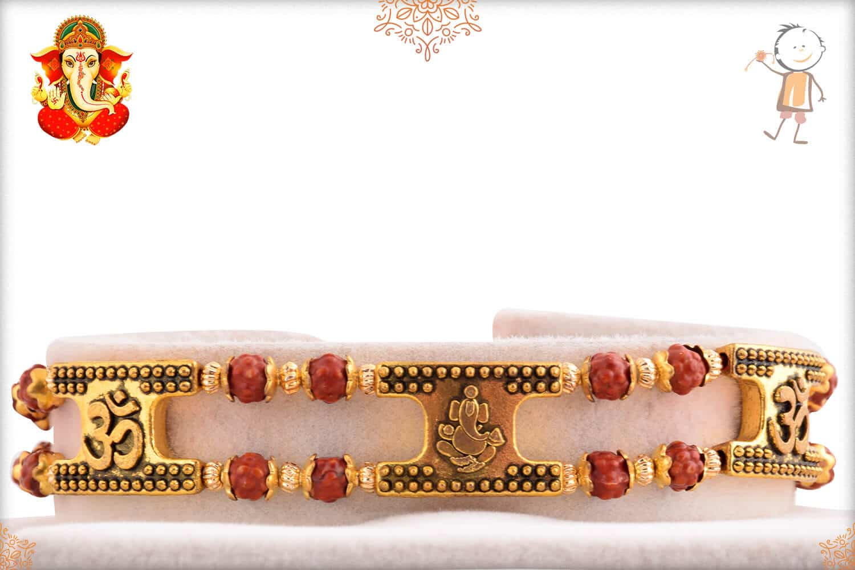 OM with Ganeshji Rudraksh Bracelet-Style Rakhi 1