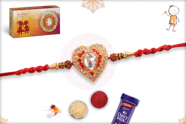 Heart Shape Diamond Big Size Punjabi Rakhi 1