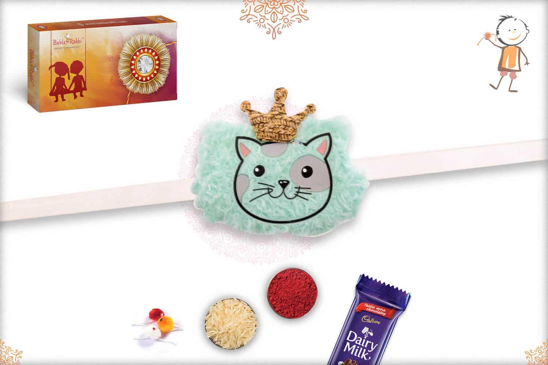 Soft Turquoise Meow Kids Rakhi 1