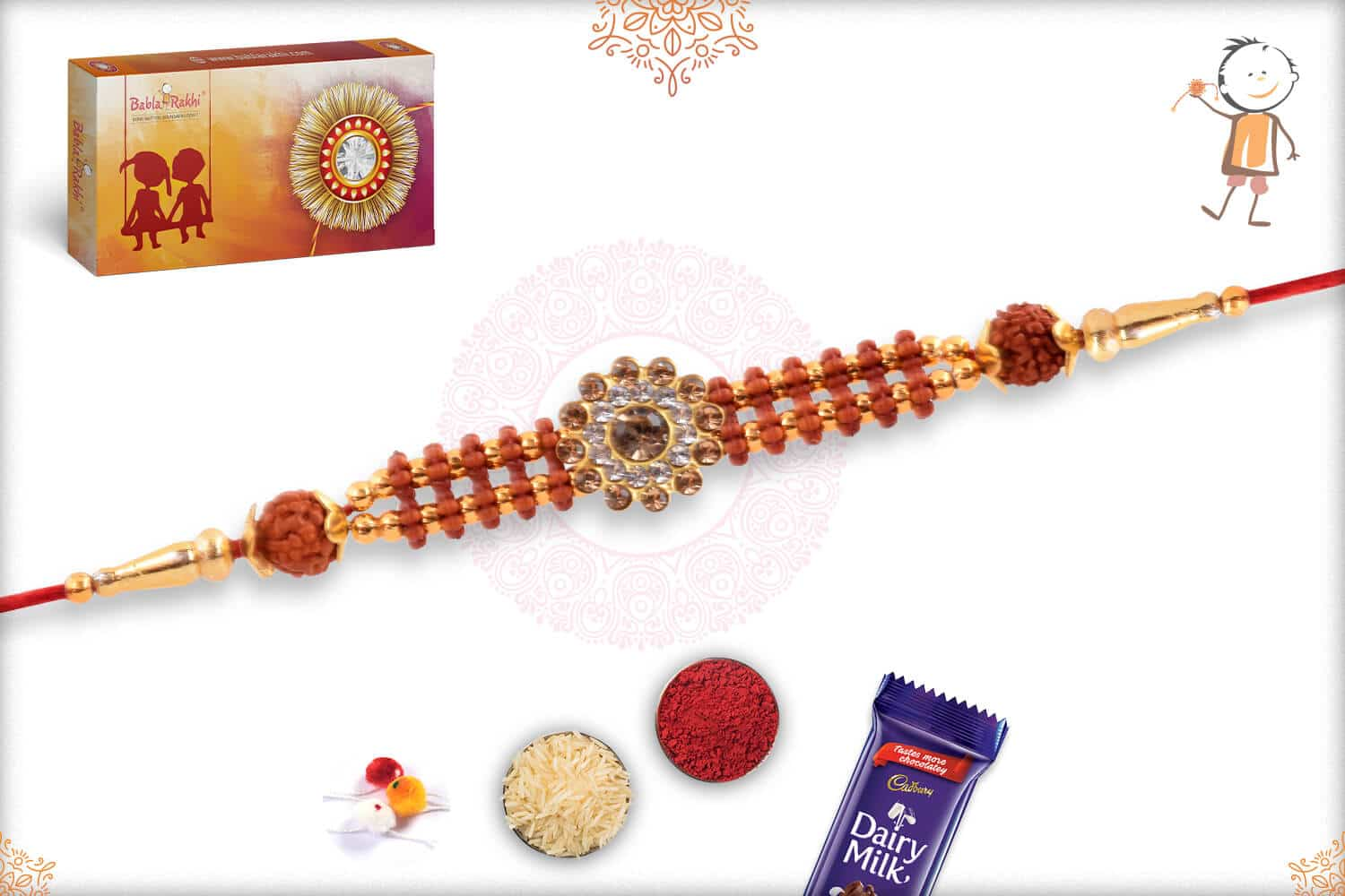 Attractive Diamond Rakhi with Rudraksh and Golden Beads 2