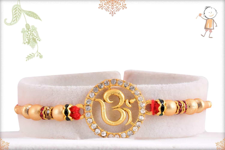 Premium Golden Om Diamond Rakhi 1