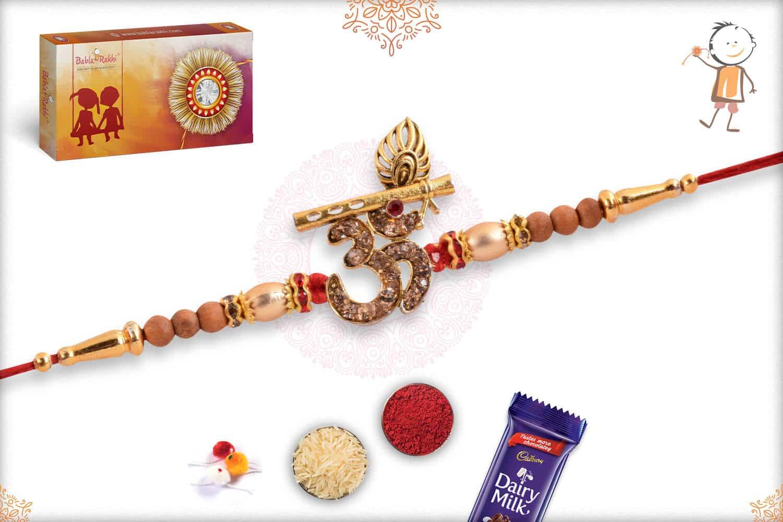 Beautiful Diamond OM Rakhi with Bansuri 2
