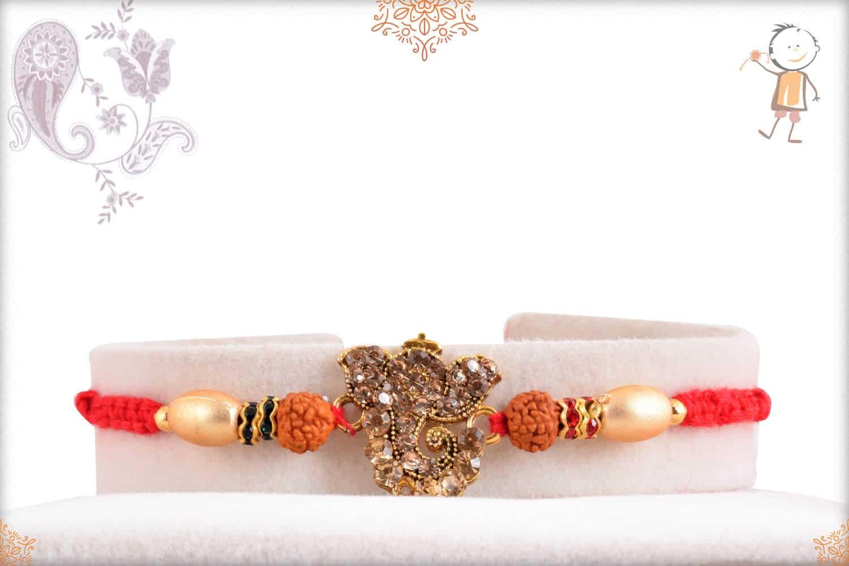 Divine Diamond Ganeshji Rakhi with Rudraksh 1