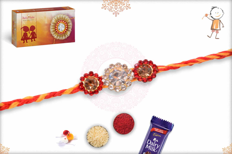 Beautiful Diamond Rakhi with Mauli Thread 2