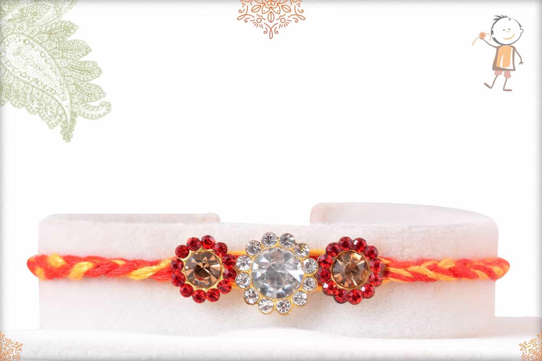 Beautiful Diamond Rakhi with Mauli Thread 1
