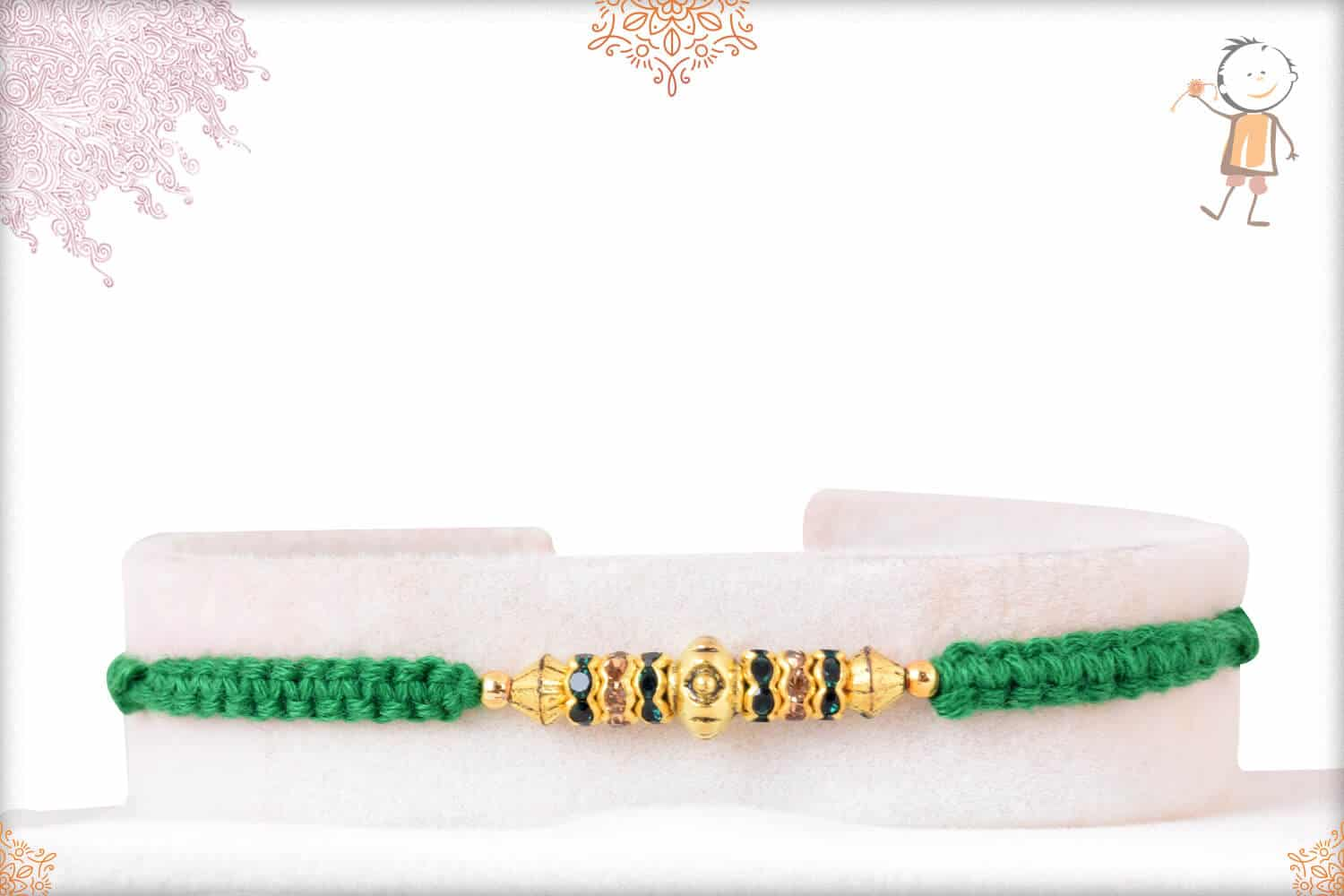 Diamond Rakhi with Uniquely Knotted Green Thread 1