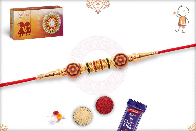 Simple Diamond Rings Rakhi with Flower Beads 2