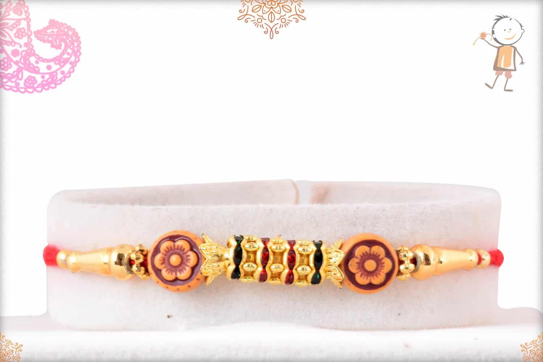Simple Diamond Rings Rakhi with Flower Beads 1
