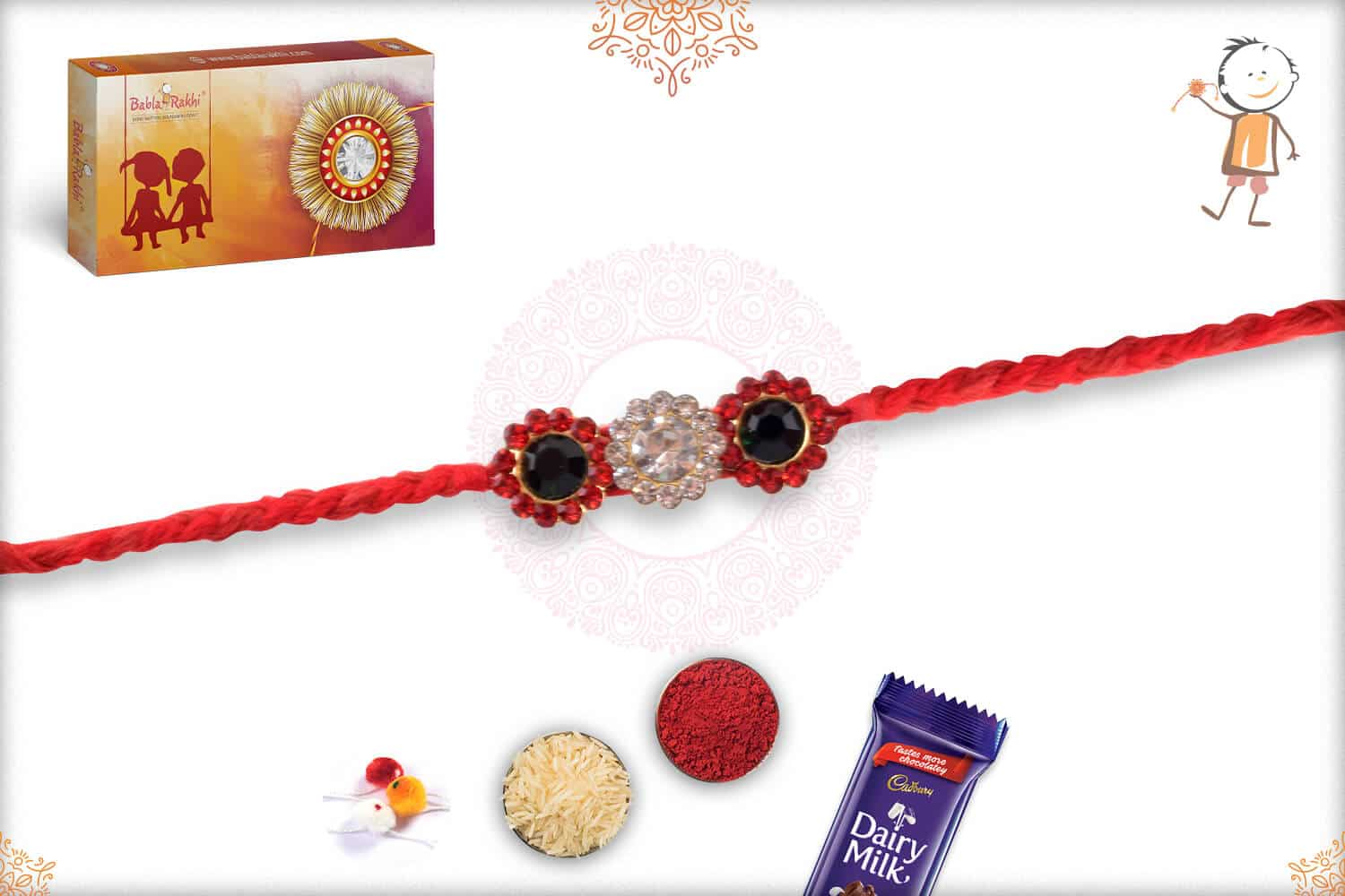Exclusive Diamond Rakhi with Handcrafted Red Thread 2