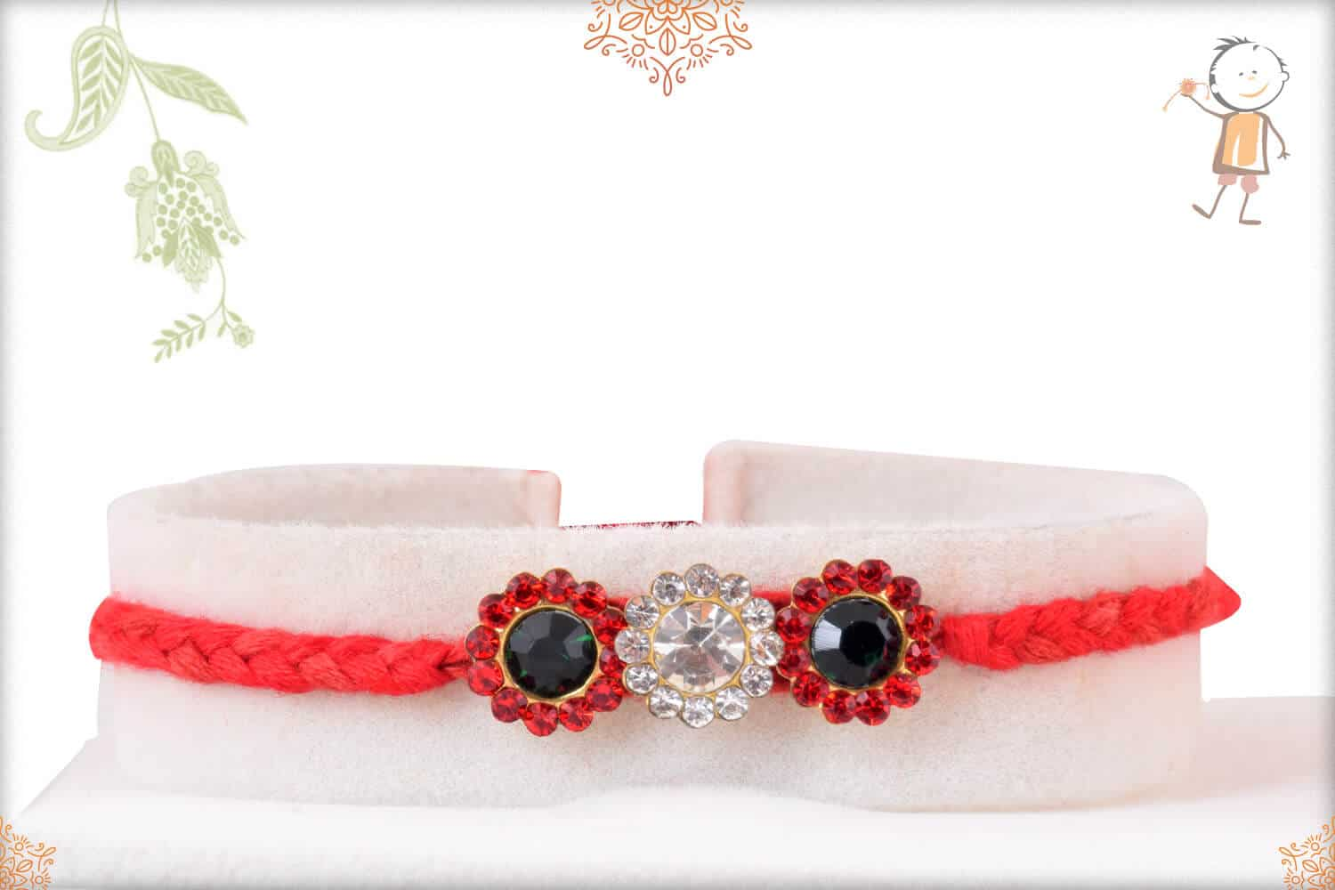 Exclusive Diamond Rakhi with Handcrafted Red Thread 1