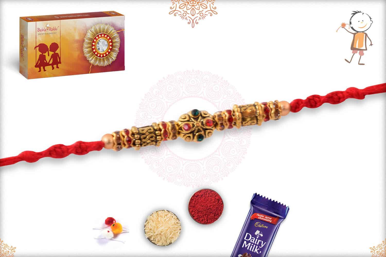 Premium Diamond Rakhi with Golden Beads 2