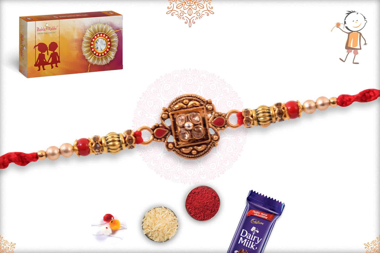 Beautiful Diamond Rakhi with Handcrafted Thread 2