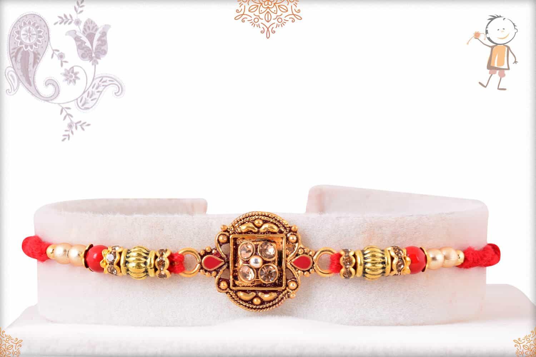 Beautiful Diamond Rakhi with Handcrafted Thread 1