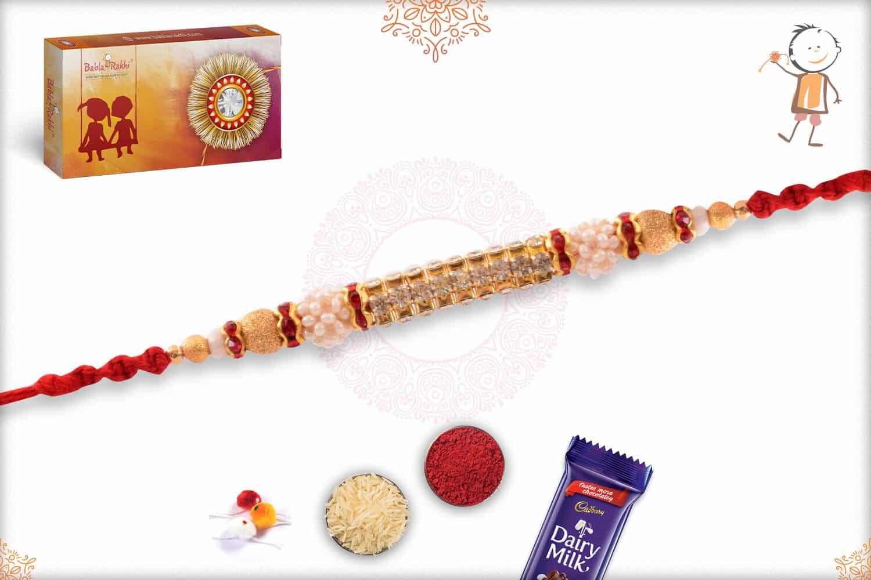 Glowy Diamond Rakhi with Pearls and Golden Beads 2
