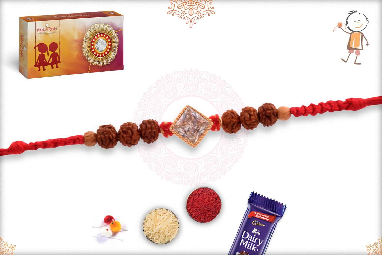 Precious Diamond Rakhi with Rudraksh 2