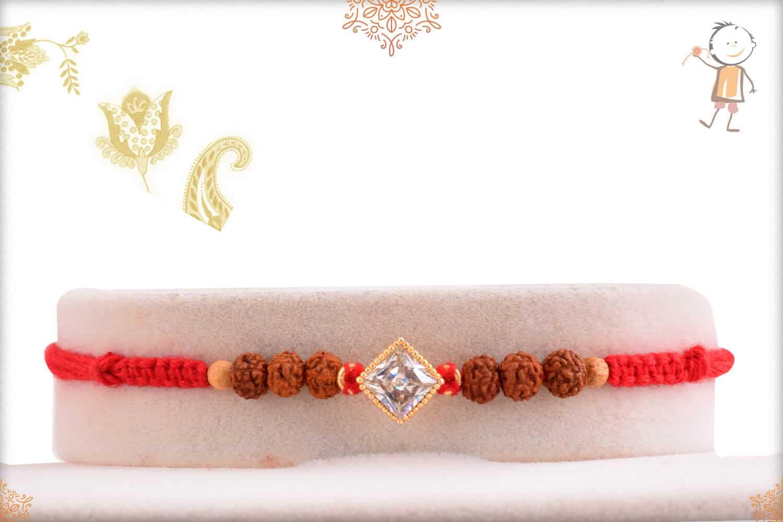 Precious Diamond Rakhi with Rudraksh 1