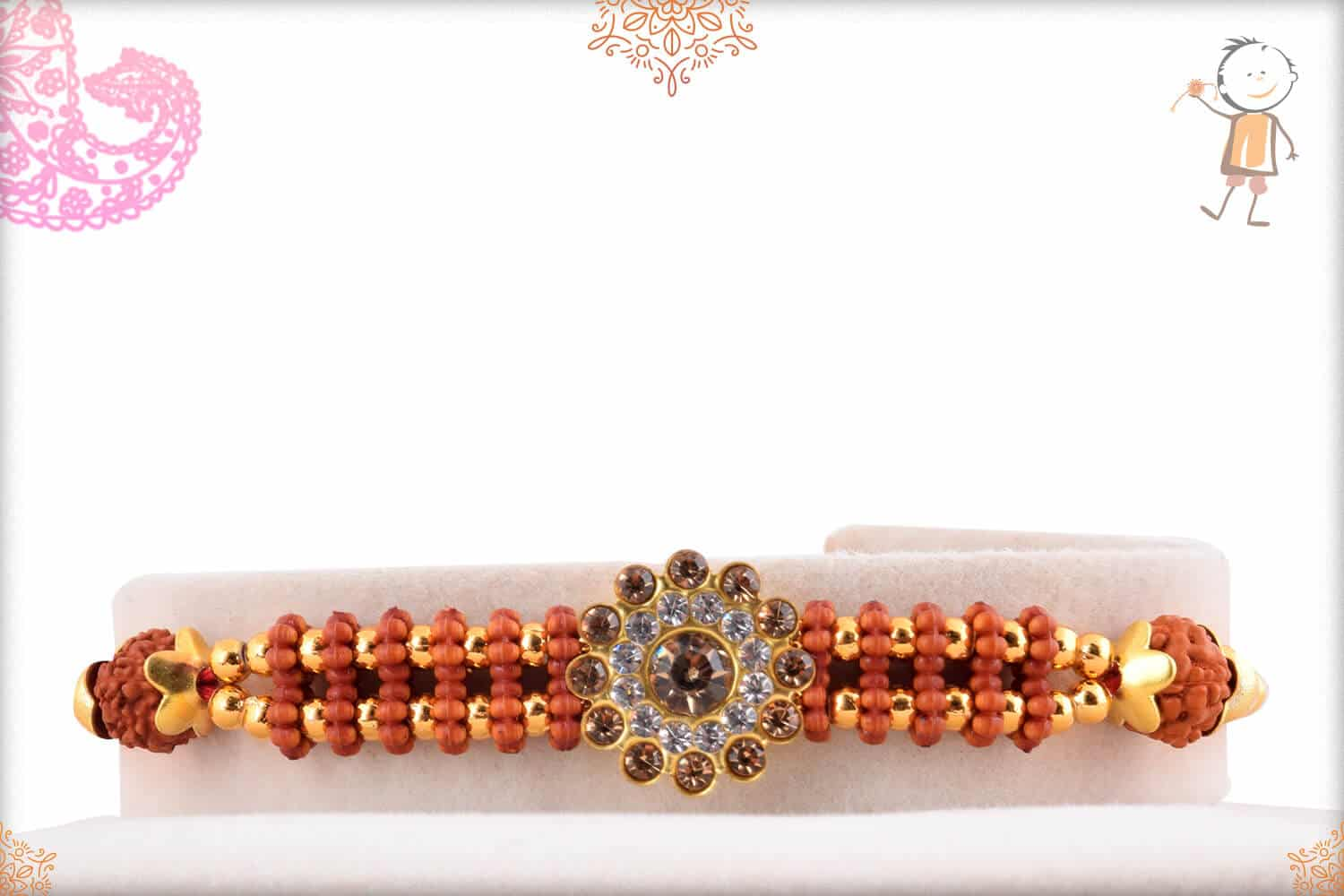 Attractive Diamond Rakhi with Rudraksh and Golden Beads 1
