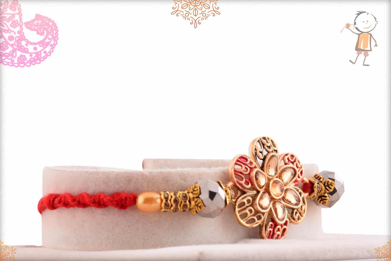 Beautiful Flower Punjabi Rakhi with Pearls 2
