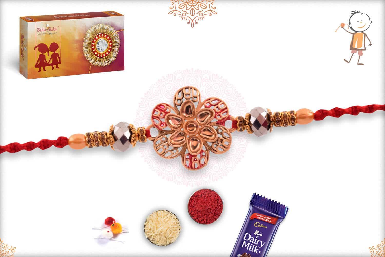 Beautiful Flower Punjabi Rakhi with Pearls 3