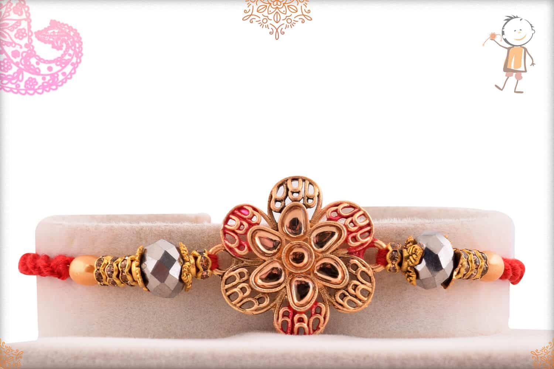 Beautiful Flower Punjabi Rakhi with Pearls 1