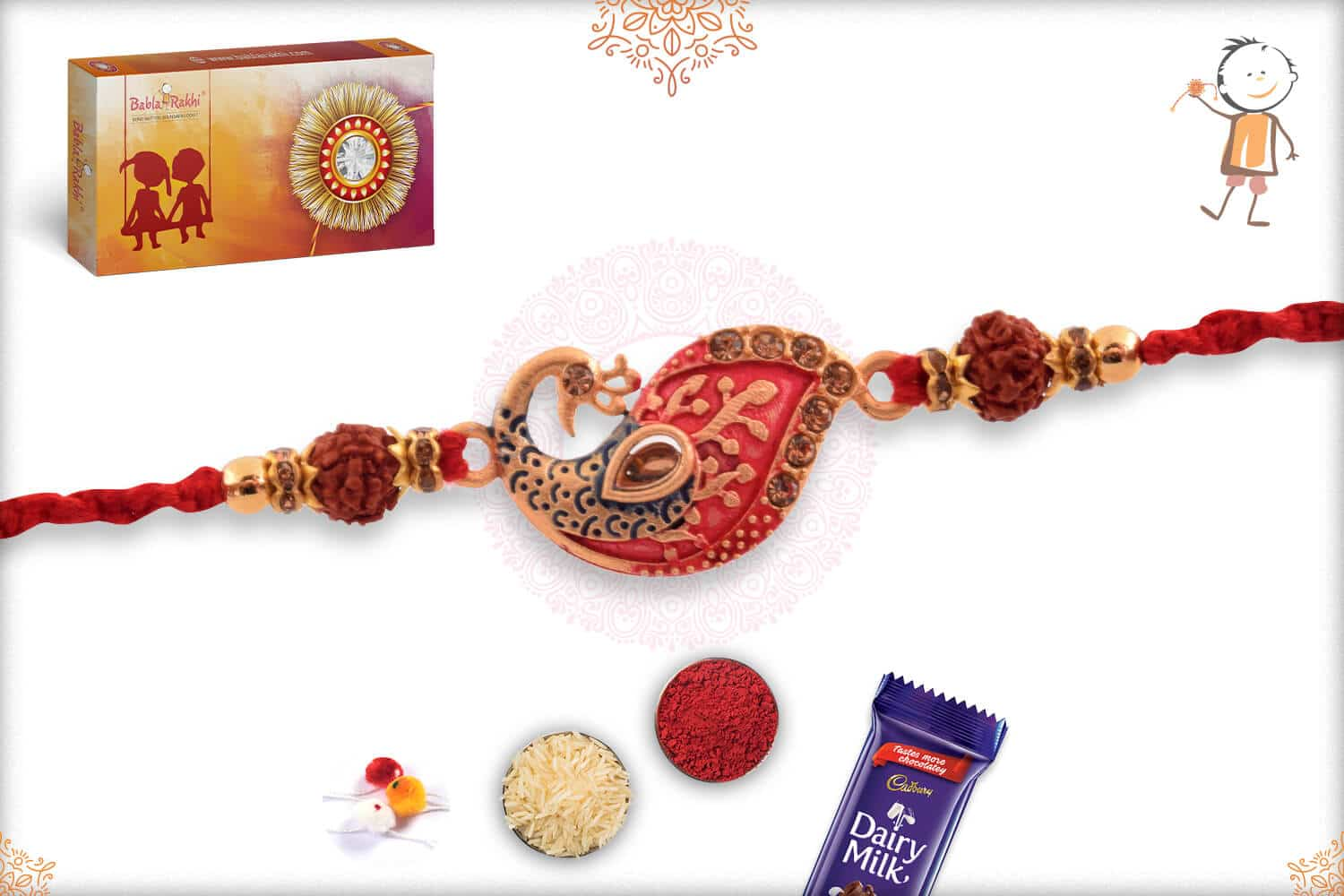 Uniquely Crafted Peacock Rakhi with Rudraksh 2