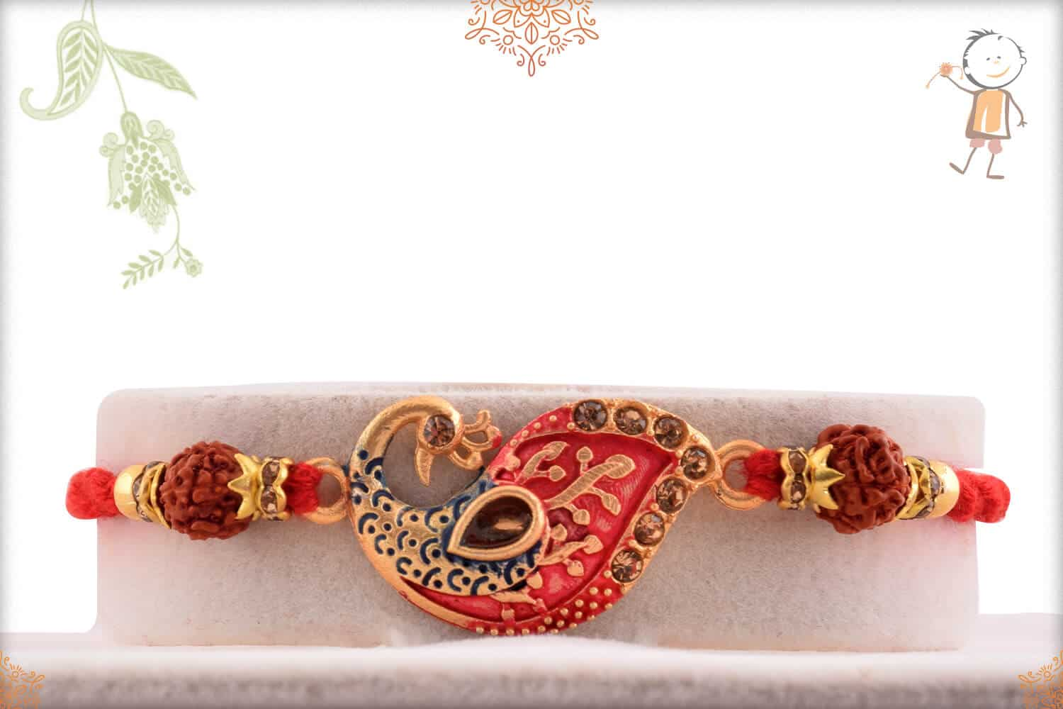Uniquely Crafted Peacock Rakhi with Rudraksh 1
