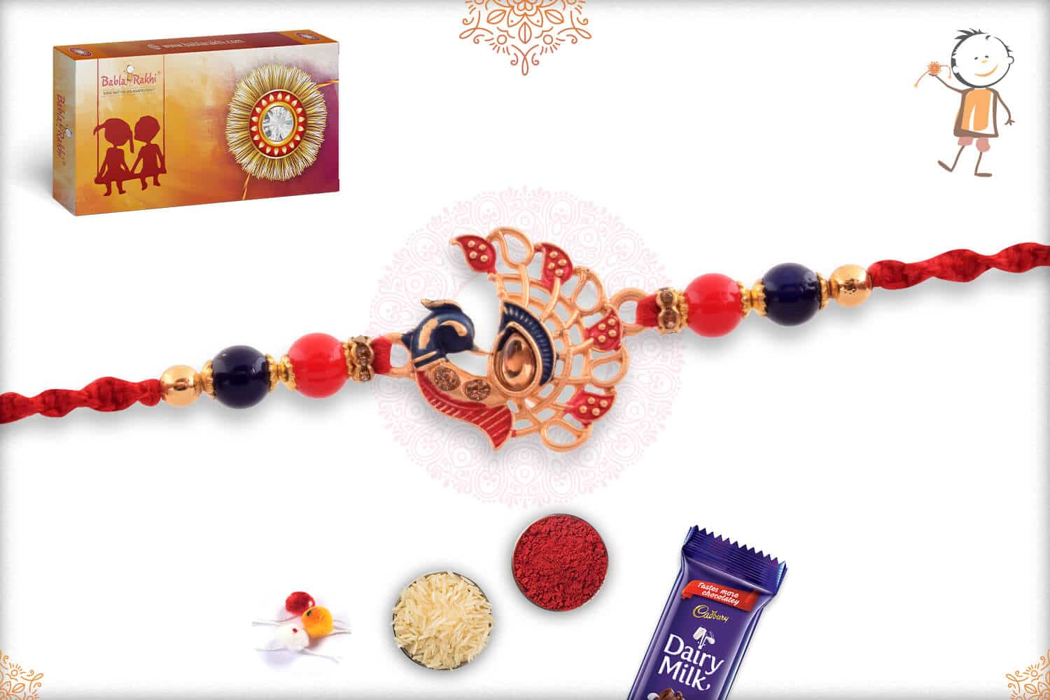 Peacock Rakhi with Red-Blue Beads 2